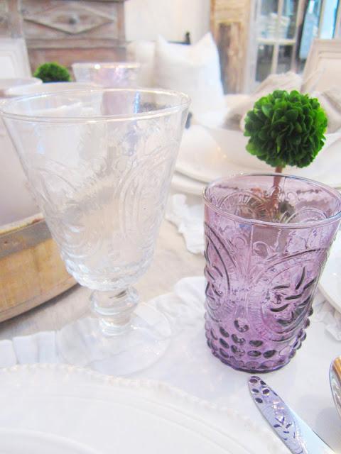 Purple fleur glass
