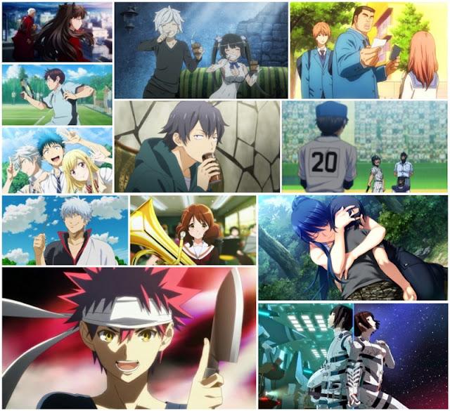 Kolaż przedstawiający screeny z dwunastu najlepszych anime wiosny 2015 roku