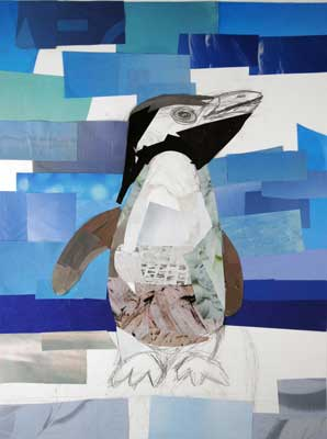 The Curious Penguin by collage artist Megan Coyle
