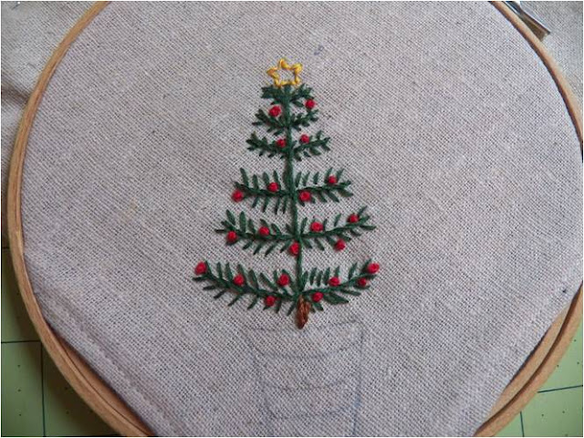 Art threads monday project christmas tree embroidery