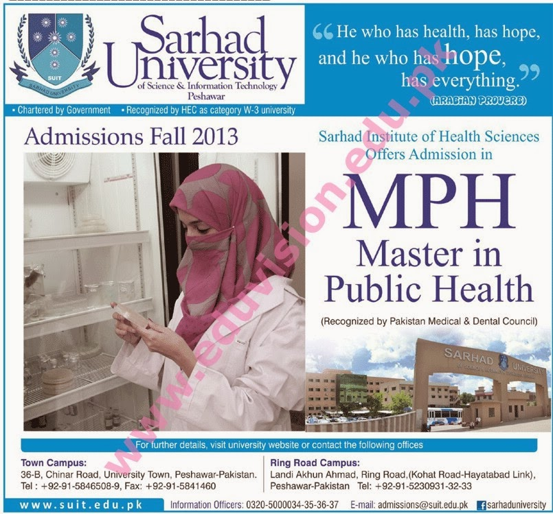 Peshawar Sarhad University Admission 2014