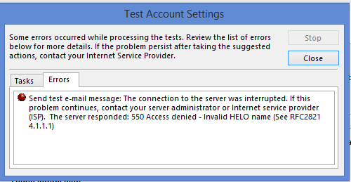 Contact Your Server Administrator Or Internet Service Provider ISP The Responded 550 Access Denied