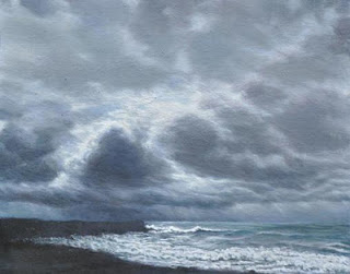 Katherine Kean, Gathering Point, original, contemporary landscape painting, Kaimu, Hawaii, black sand beach, stormy, waves, atmospheric
