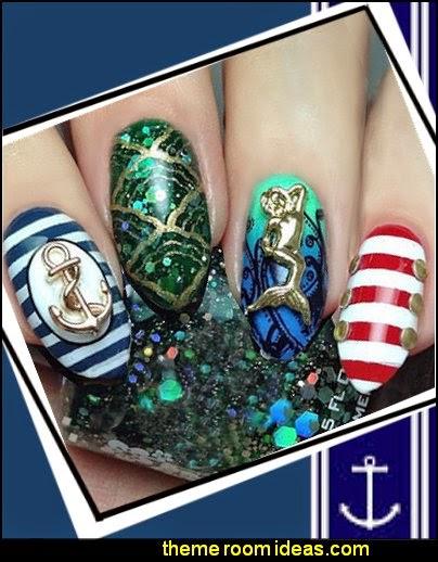 nautical nail art designs 3d alloy ocean series mermaid starfish shell nail art decoration metal nail art studs