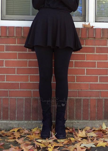 Black leggings and skirt