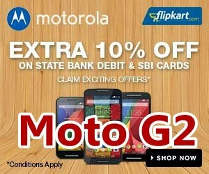Buy Motorola Moto G2 with 10% discount Offers on Flipkart Online Shopping