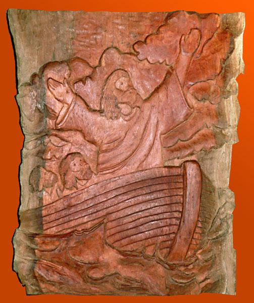 Jesus na Arca - Entalhe em madeira