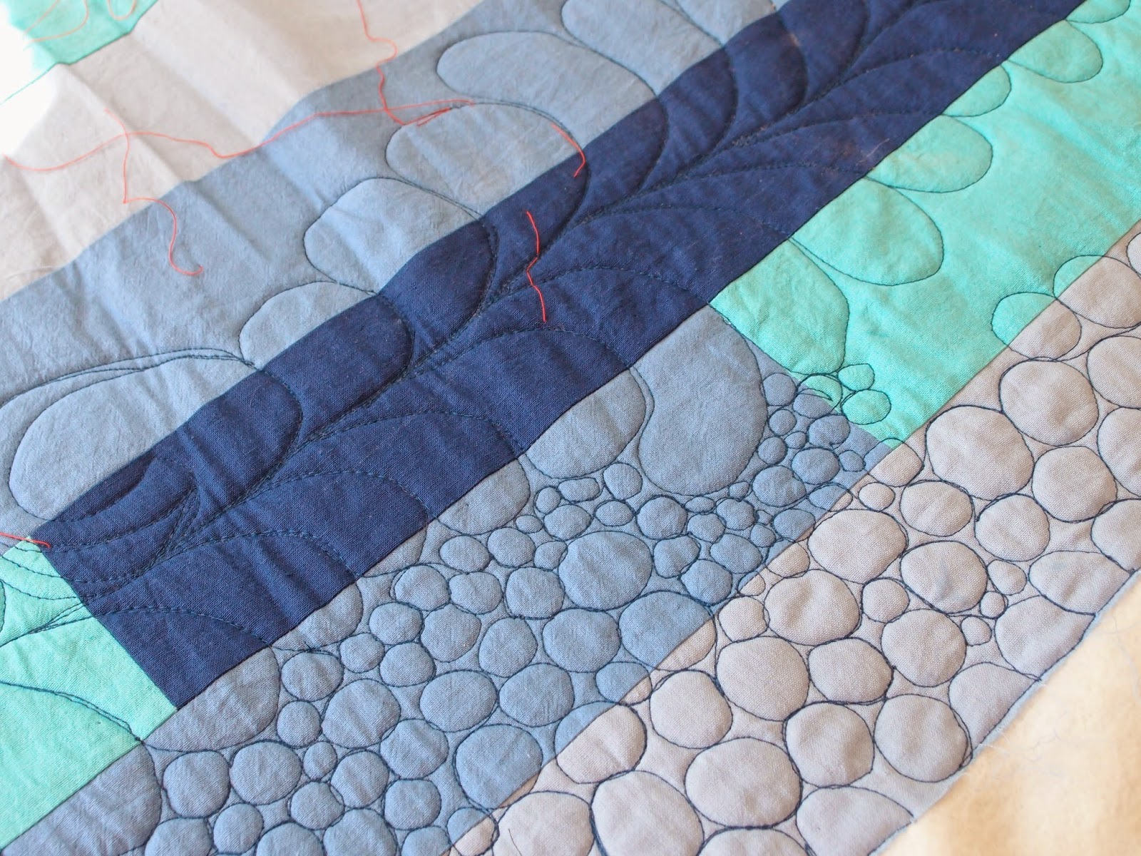 quilitng in progress - blue quilt