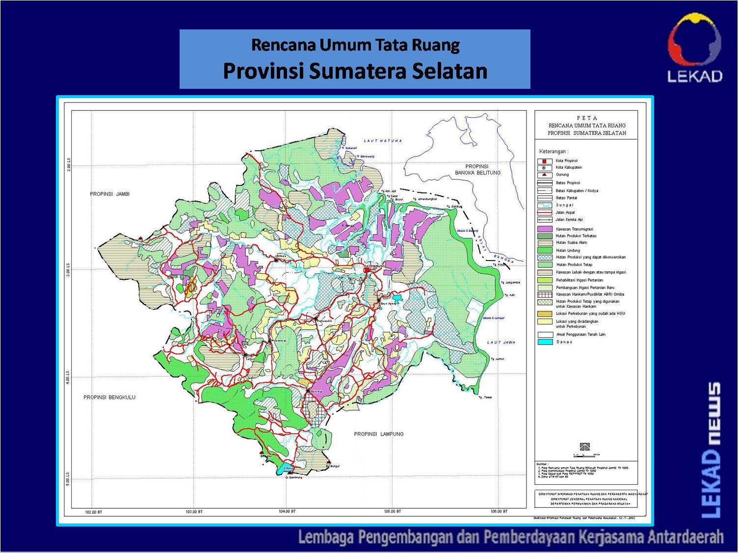 lekadnews peta rutr provinsi sumatera selatan