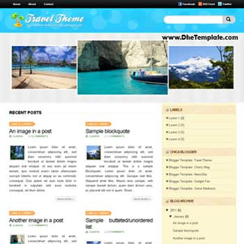 Travel Theme blogger template. image slider blogger template. 4 column footer template blog