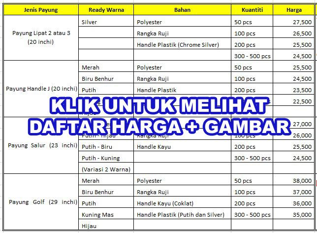 Daftar Harga Payung