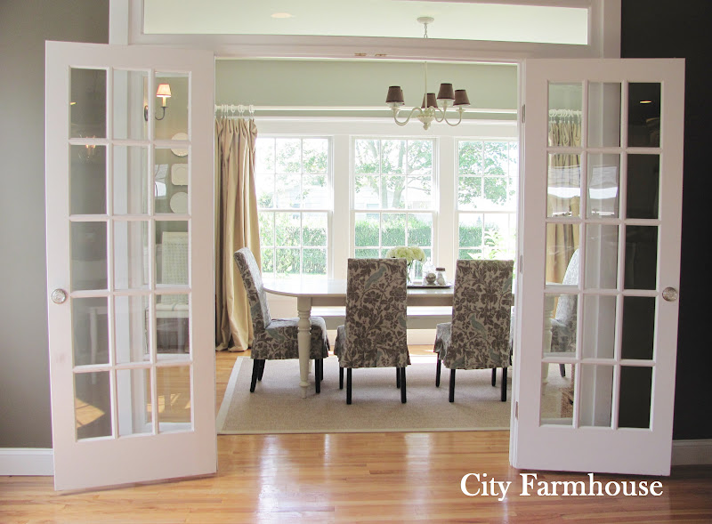 Dining room reveal city farmhouse for Dining room ideas with french doors