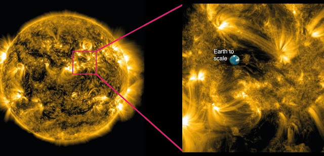 Left: An image of our sun taken by NASA's Solar Dynamics Observatory, showing million degree plasma being channeled into loop-like shapes by the immense magnetic fields. Right: A zoom-in of the highly magnetic region of the sun's corona studied by Dr. David Jess and colleagues from Queen's University Belfast, Northern Ireland. Credit: Queen's University Belfast