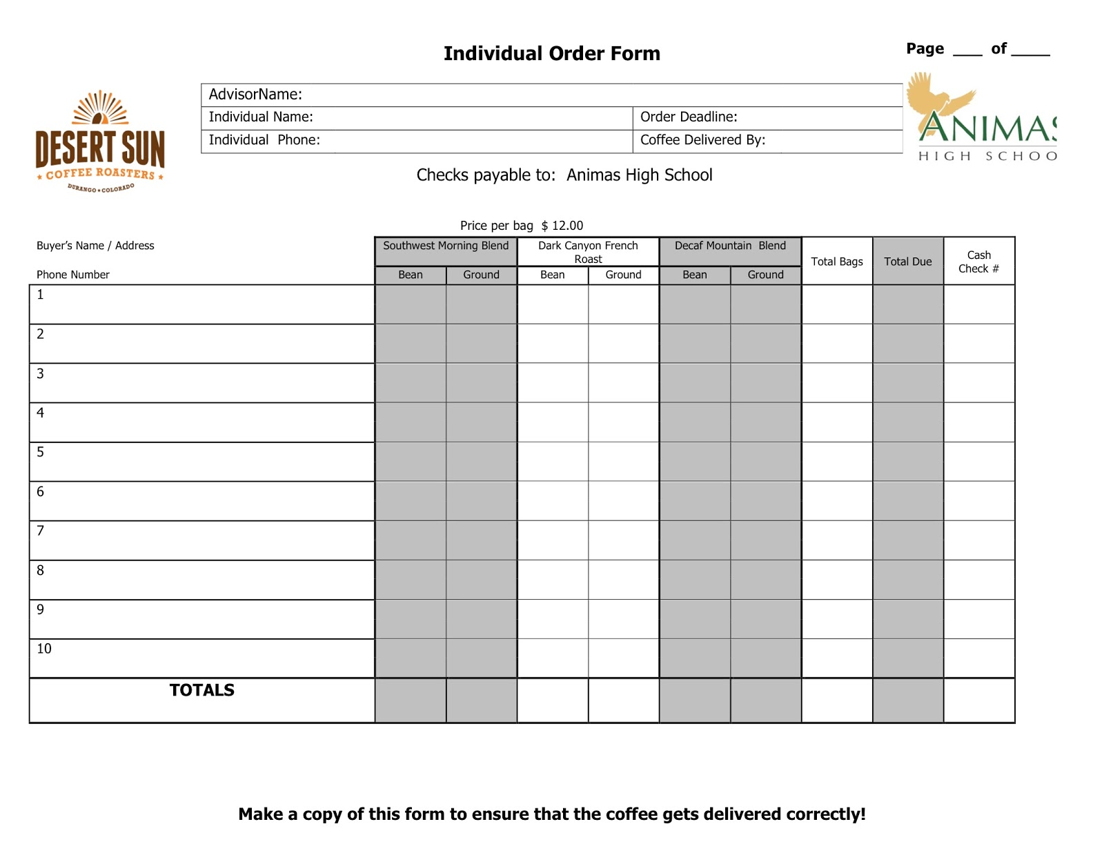 Animas High : Coffee Fundraising Order Forms 2013 on fundraiser application form, popcornopolis fundraiser form, grocery list form, statement form, satin hands fundraiser form, fundraiser flyer, 1099 tax form, fundraiser catalog,
