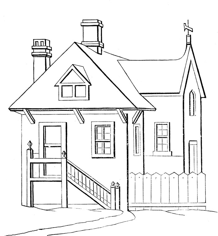 Simple house coloring pages disney coloring pages for House drawing easy