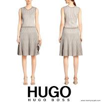Queen Letizia Style BOSS Fanuela Dress and MbuBag Clutch Bag