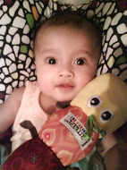Sara with her Lamaze Inchworm