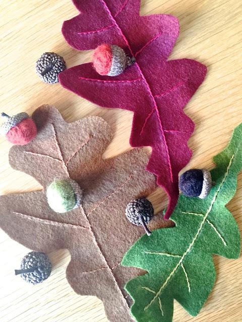 Felt Oak Leaves and Acorns