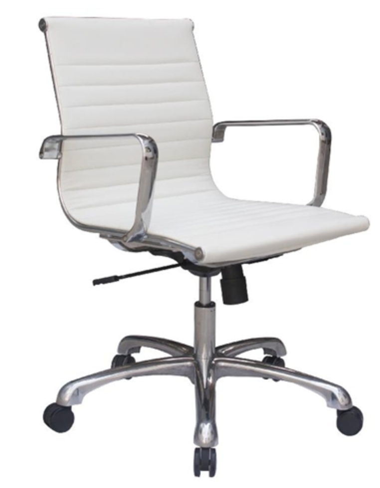 Joplin Series European White Leather Chair by Woodstock
