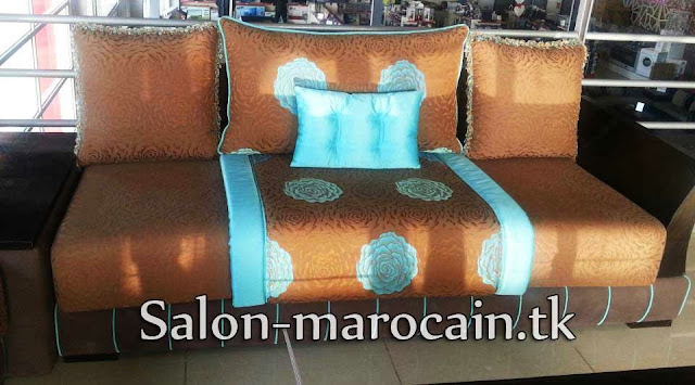 D coration salon marocain moderne 2016 canap marron - Salon marocain turquoise marron ...