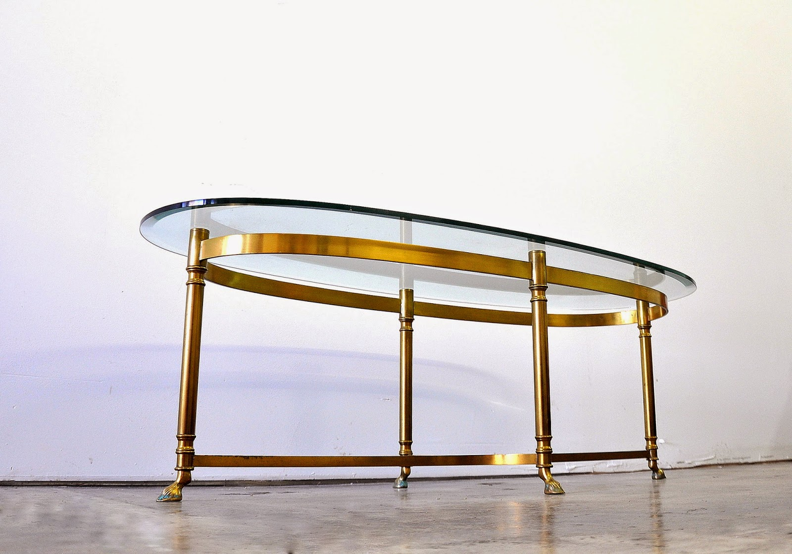 Select Modern Hollywood Regency Brass And Glass Coffee Or Cocktail Table