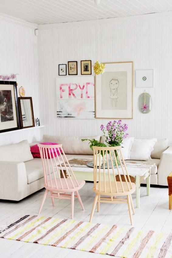 Salón con colores pasteles
