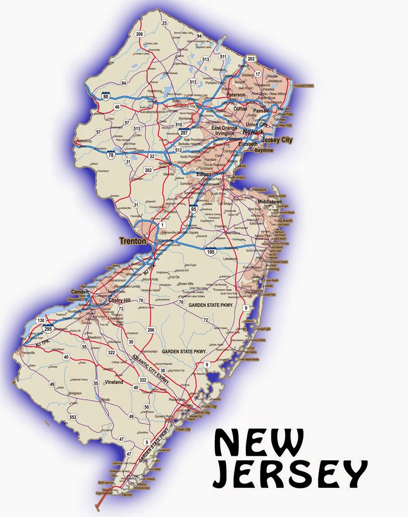State Map of New Jersey  Free Printable Maps
