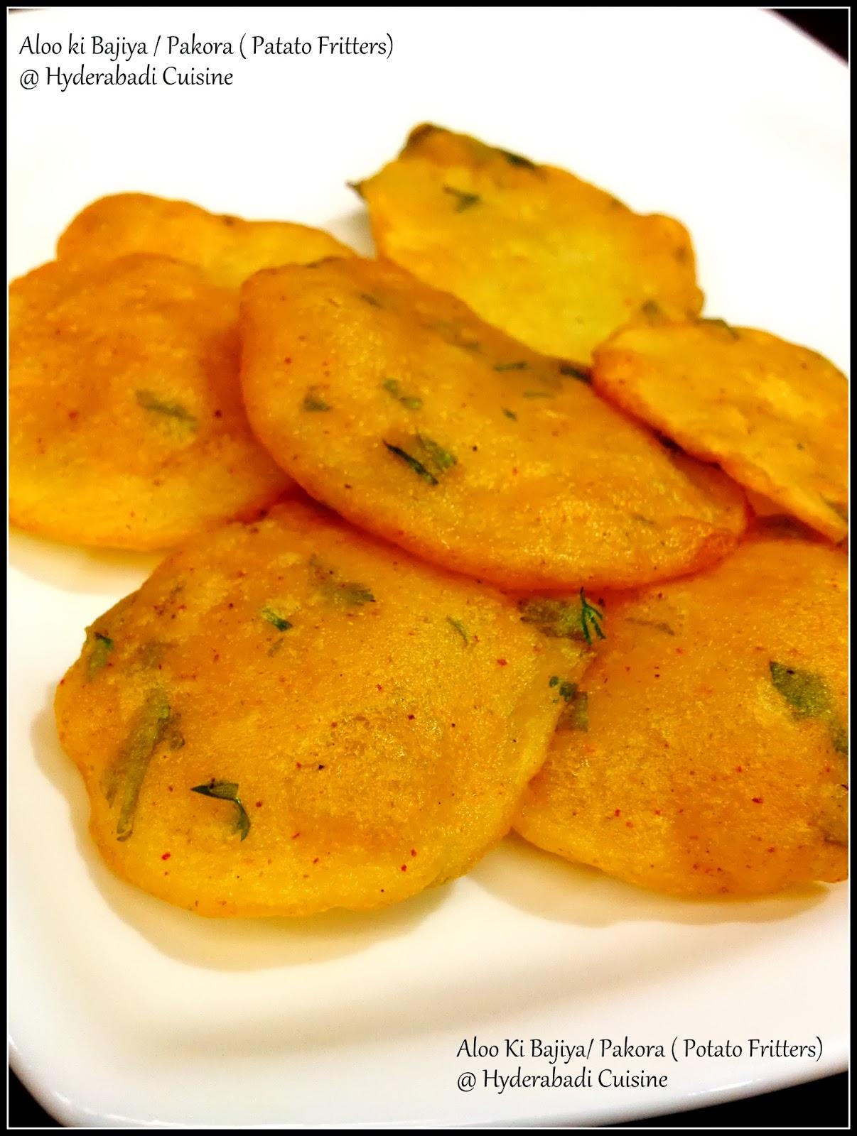 Hyderabadi Cuisine: Aloo Bajiya /Pakora (Potato Fritters)