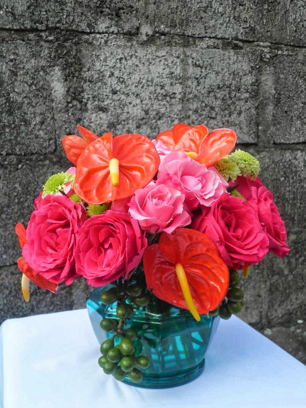 turquoise vase-hot pink rose, pink rose, red anthurium and green spray chrysanthemum