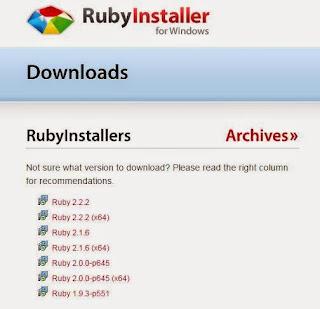 ruby installer インストール インストーラ