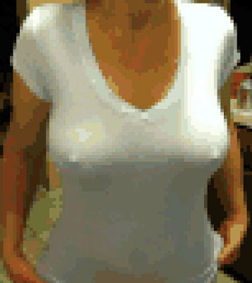 White shirt no bra