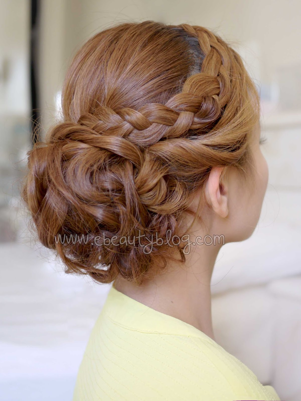 Bridal Curly Updo With Braids