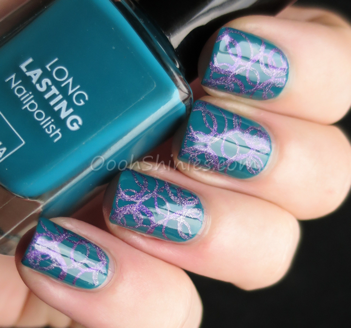 HEMA 840 with HEMA Holographic Purple, A England Crown Of Thistles and Konad m85