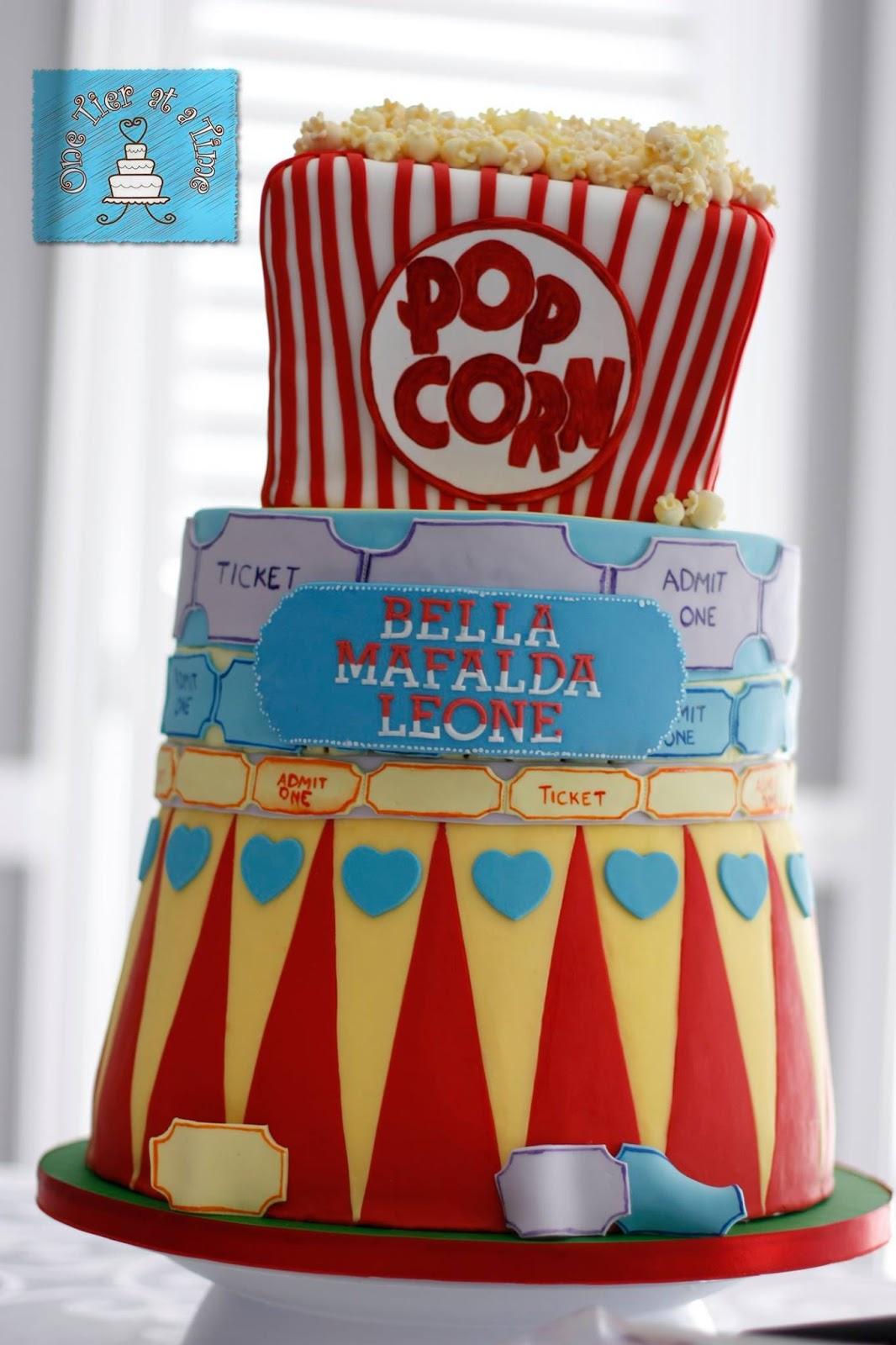 Carnival Themed Cake. Circus, fondant  popcorn