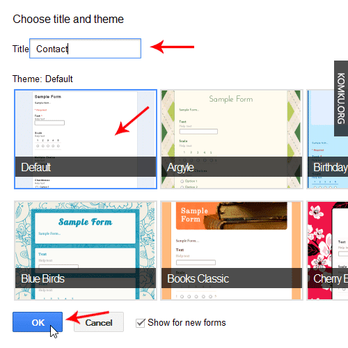 Google Drive Choose Title and Theme
