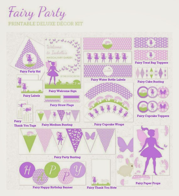 Fairy, printable, digital, diy, tips, Cupcake wrappers, cupcake toppers, water bottle labels, party hats, bunting, banner