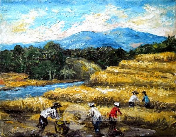 lukisan sawah terasering