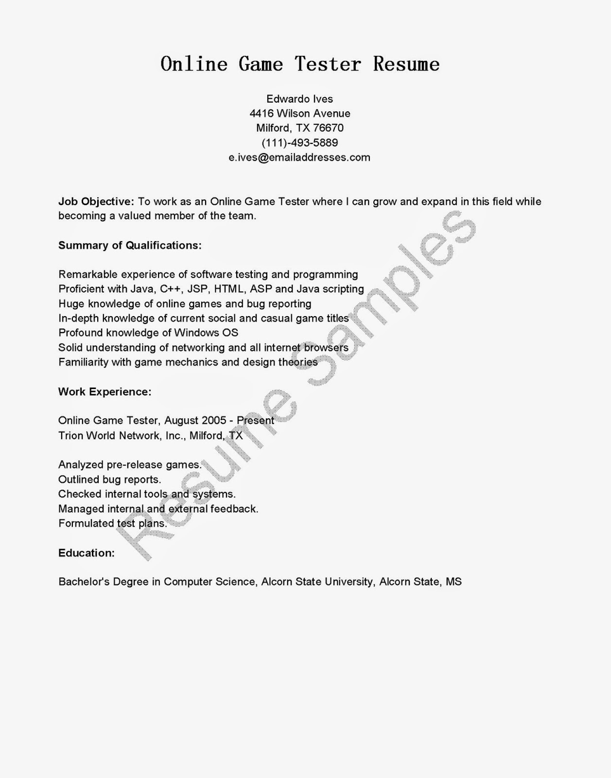 resume samples  online game tester resume sample