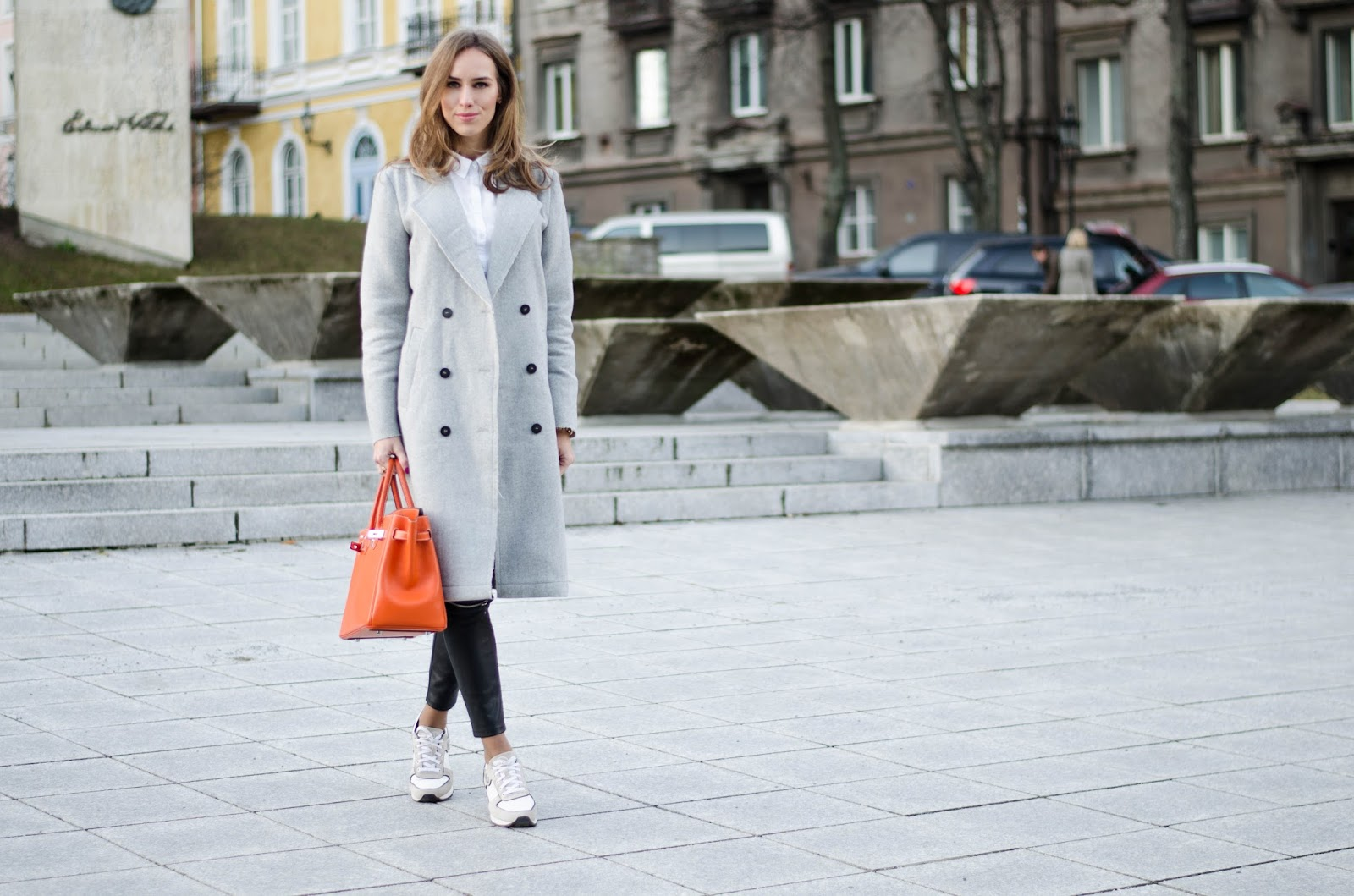 kristjaana mere vila gray wool coat armani white sneakers birkin bag winter fashion