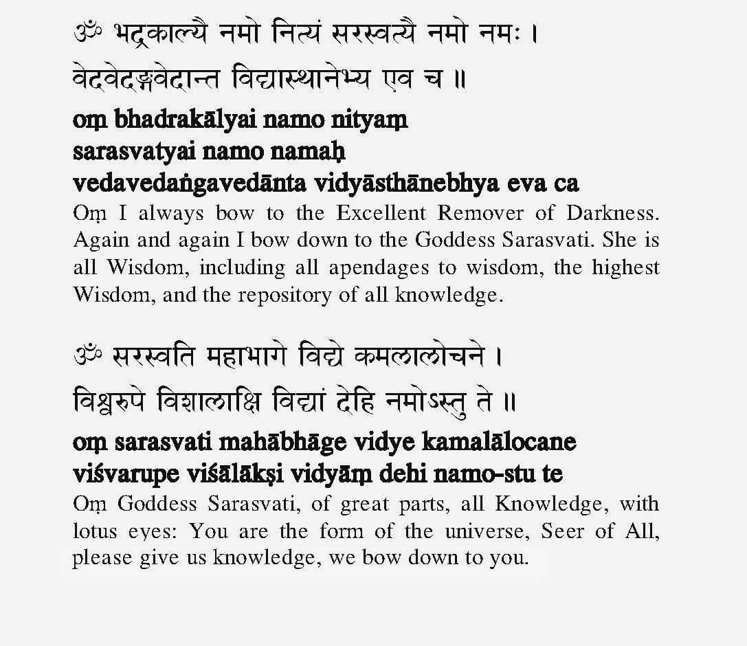 Saraswati Pranam Mantra