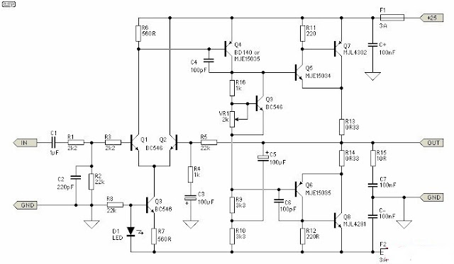 build a 25w class a power audio amplifier circuit diagram ~ diagram