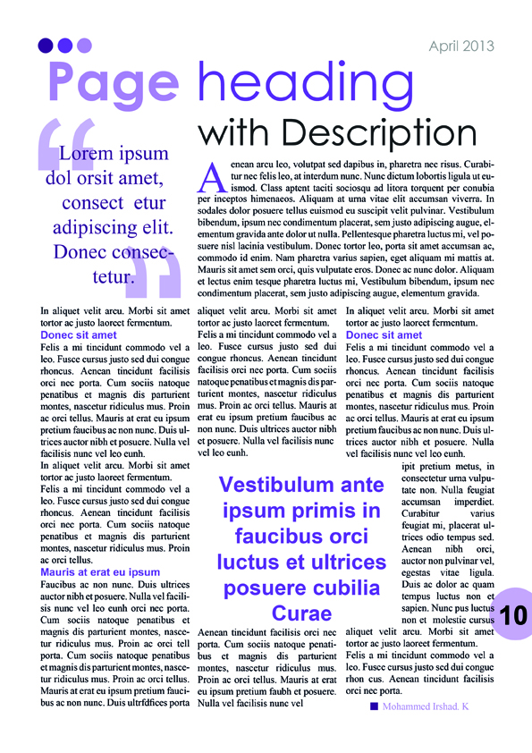 Purple Magazine/Newsletter Content Page
