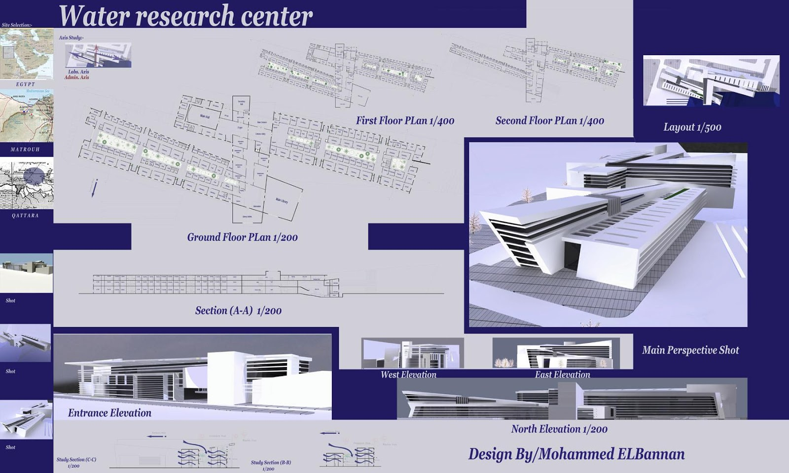 Poster design for projects - Graduation Project Water Research Centre Architectural Poster
