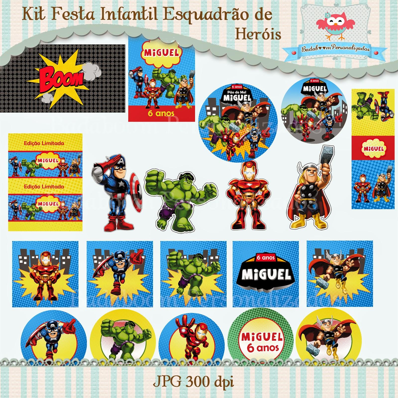 Esquadrão de Heróis, Super Hero Squad, arte digital, kit digital, festa infantil, personalizados, baton, tag, rótulos, personagens, bis, bolinha de sabão, cone de guloseimas, caixinhas, tic tac