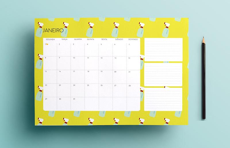 Calendário de janeiro para você imprimir e organizar o mês inteirinho!
