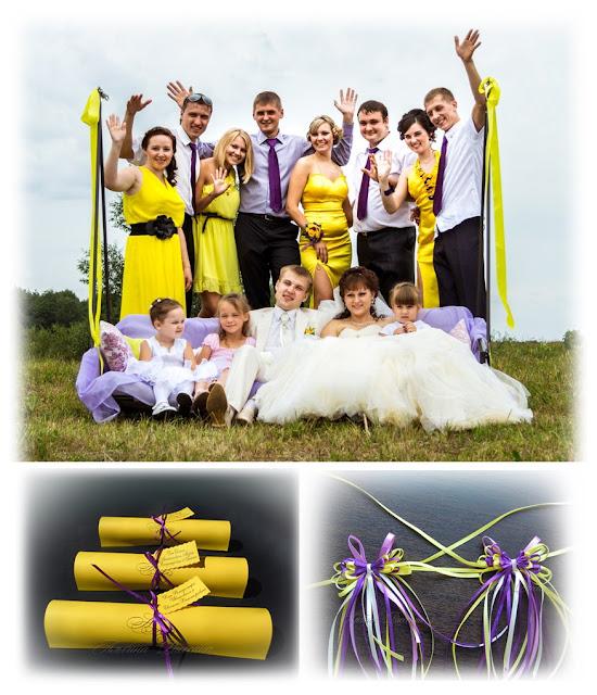 Свадебные бокалы, бонбоньерки, свадебные приглашения.