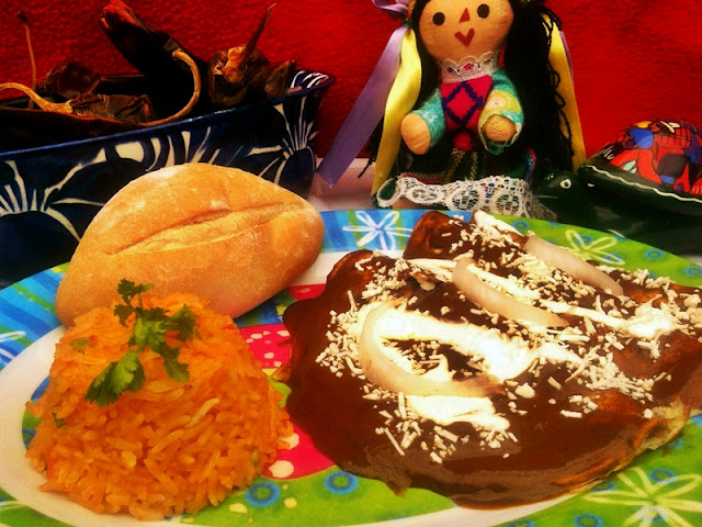 Enchiladas de Mole Poblano.