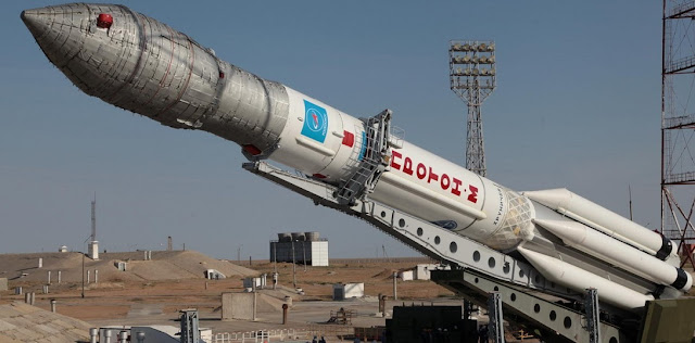 A Proton-M rocket being placed at the Baikonur Cosmodrome's launch pad for the Sept. 14 launch. Credit: Roscosmos