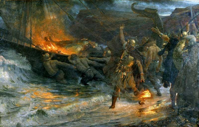 funeral of a viking,frank dicksee,victorian art