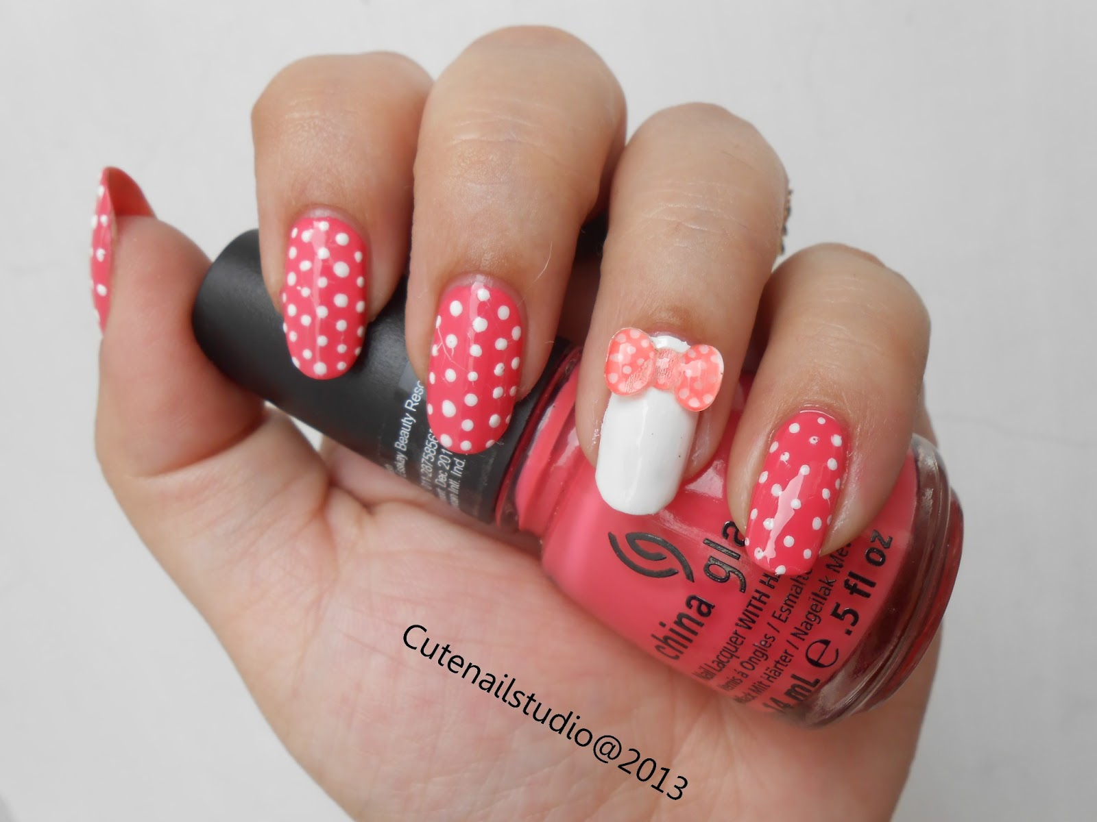 Cute nails neon nails3 3d polka dot bow nails for 3d nail art salon